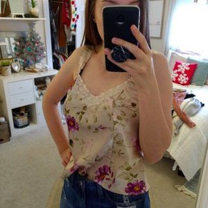 Vintage InnerMost silk style tank top lace floral